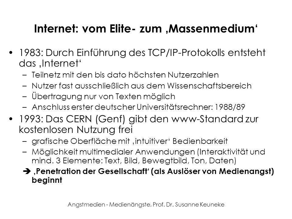 Angstmedien - Medienängste, Prof. Dr. Susanne Keuneke Internet: vom Elite- zum Massenmedium 1983: Durch Einführung des TCP/IP-Protokolls entsteht das