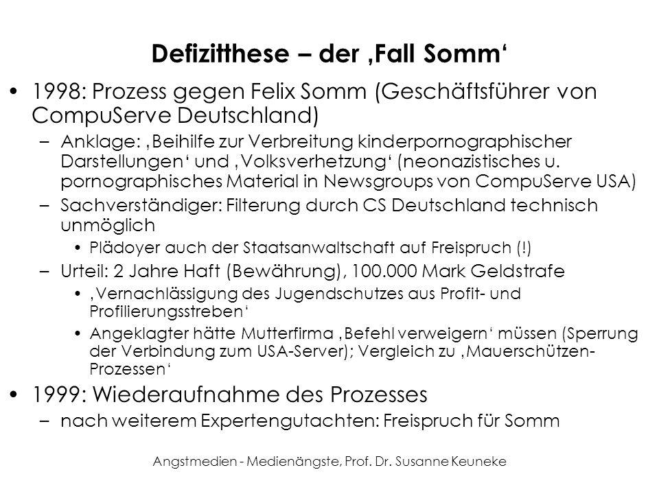 Angstmedien - Medienängste, Prof. Dr. Susanne Keuneke Defizitthese – der Fall Somm 1998: Prozess gegen Felix Somm (Geschäftsführer von CompuServe Deut