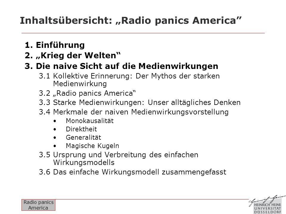 Radio panics America Inhaltsübersicht: Radio panics America 1. Einführung 2. Krieg der Welten 3. Die naive Sicht auf die Medienwirkungen 3.1 Kollektiv