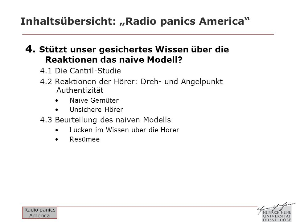 Radio panics America Inhaltsübersicht: Radio panics America 5.
