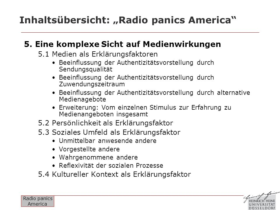Radio panics America Inhaltsübersicht: Radio panics America 6.