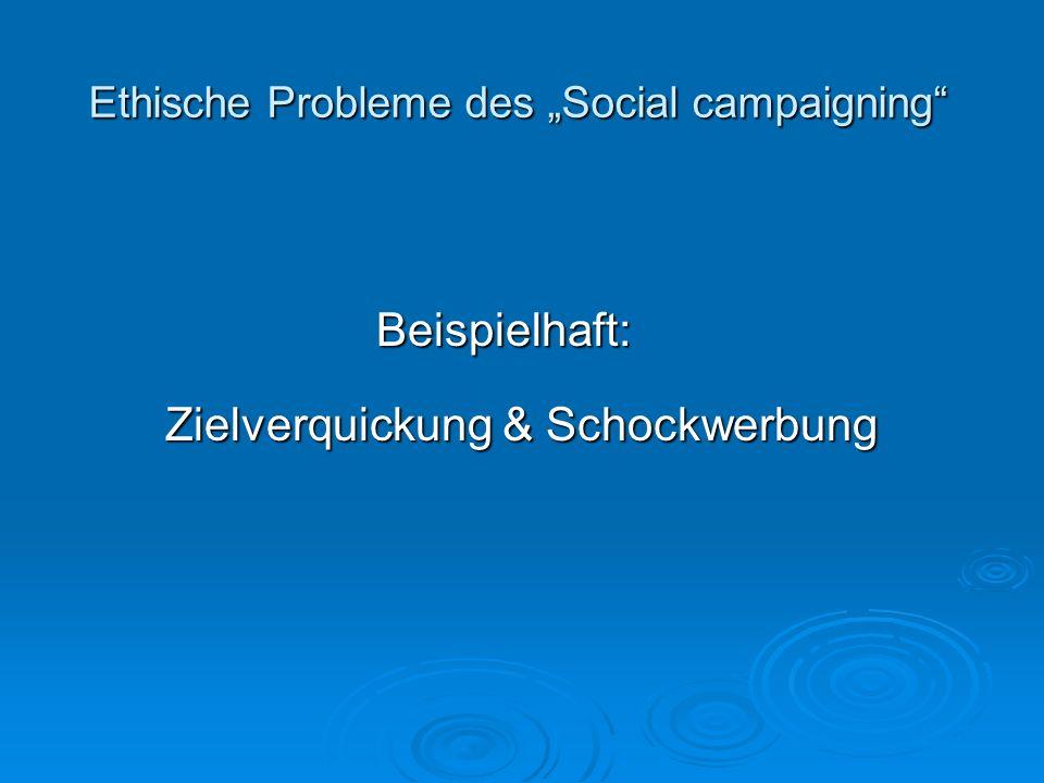 Ethische Probleme des Social campaigning Beispielhaft: Zielverquickung & Schockwerbung