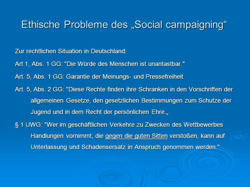 Ethische Probleme des Social campaigning Zur rechtlichen Situation in Deutschland: Art 1, Abs. 1 GG: