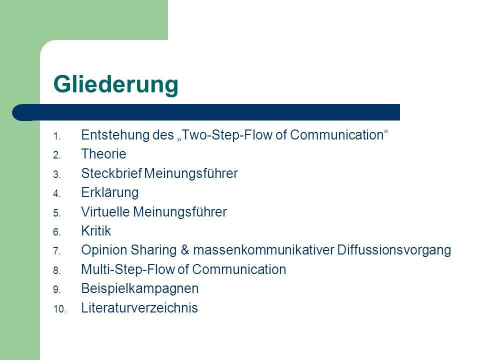 Entstehung des Two-Step- Flow Studie The People´s Choice (1940) von Lazarsfeld, Berelson und Gaudet Untersuchten Einfluss der Massenmedien auf Meinungsbildung während der US- Präsidentschaftswahl 1940 Ergebnis: nicht allein die Massenmedien beeinflussen die Meinungsbildung, sondern viel mehr interpersonale Kommunikation