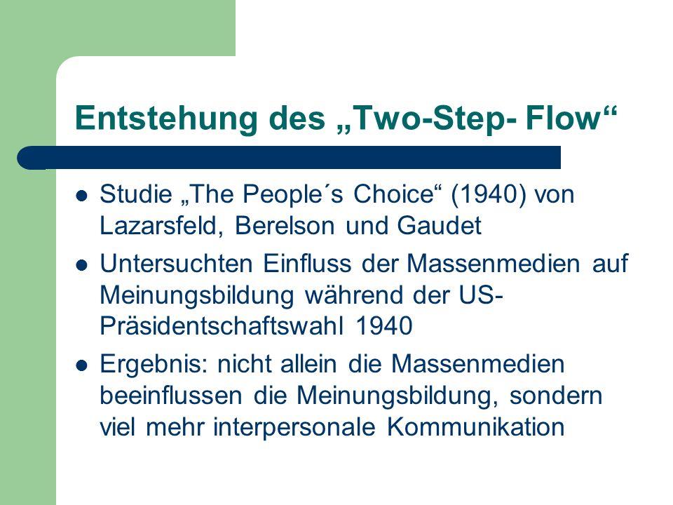Two-step-flow of communication Informationen gelangen durch die Massenmedien zu den Meinungsführern (opinion- leader) Diese geben die Informationen dann durch face-to-face Kontakte an die weniger aktiven Bevölkerungsmitglieder weiter (non-leader)