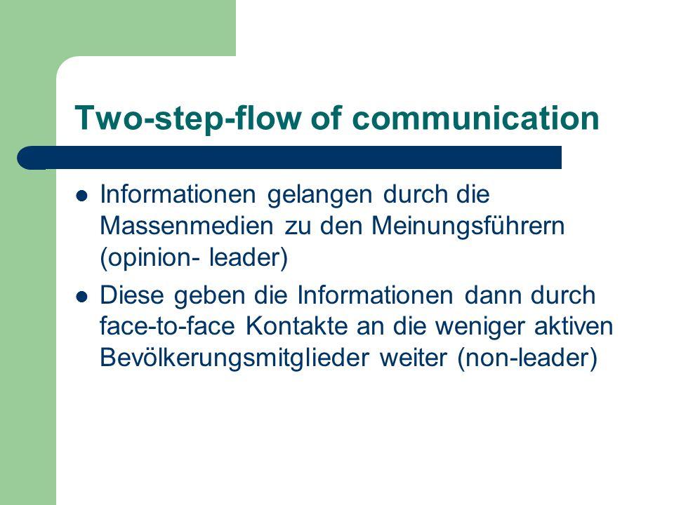 Two-step-flow of communication Informationen gelangen durch die Massenmedien zu den Meinungsführern (opinion- leader) Diese geben die Informationen da