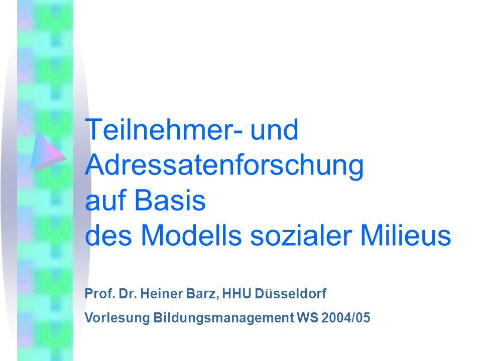Teilnehmer- und Adressatenforschung auf Basis des Modells sozialer Milieus Prof. Dr. Heiner Barz, HHU Düsseldorf Vorlesung Bildungsmanagement WS 2004/