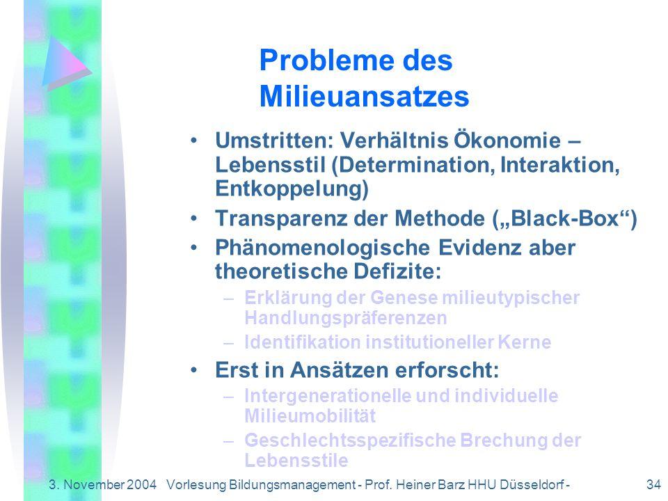 3. November 2004Vorlesung Bildungsmanagement - Prof. Heiner Barz HHU Düsseldorf - 34 Umstritten: Verhältnis Ökonomie – Lebensstil (Determination, Inte