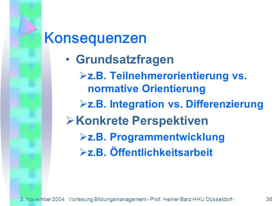 3. November 2004Vorlesung Bildungsmanagement - Prof. Heiner Barz HHU Düsseldorf - 36 Konsequenzen Grundsatzfragen z.B. Teilnehmerorientierung vs. norm
