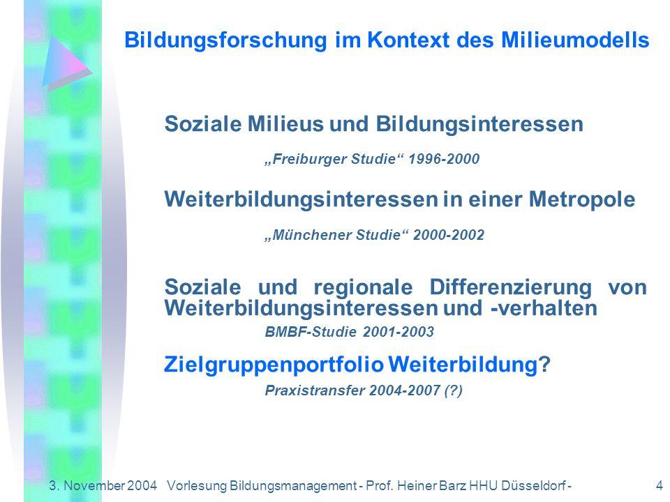 3. November 2004Vorlesung Bildungsmanagement - Prof. Heiner Barz HHU Düsseldorf - 4 Bildungsforschung im Kontext des Milieumodells Soziale Milieus und