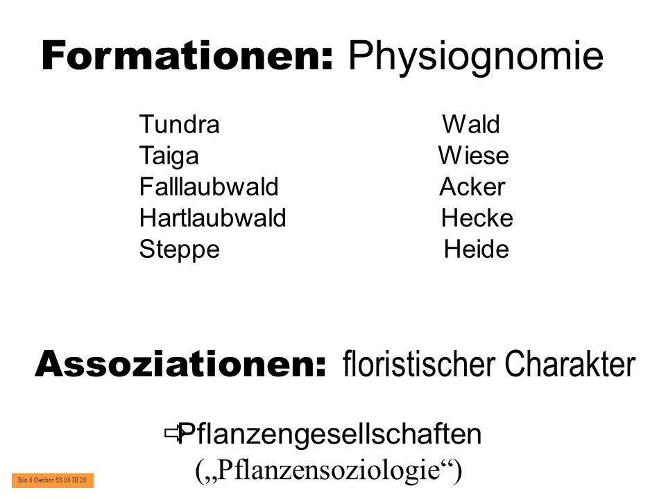 Definition einer Assoziation: E ine P flanzengesellschaft von bestimmter floristischer Z usammensetzung, von einheitlicher P hysiognomie und unter gleichartigen S tandortsbedingungen wachsend Bio 8 Geobot SS 08 III 21