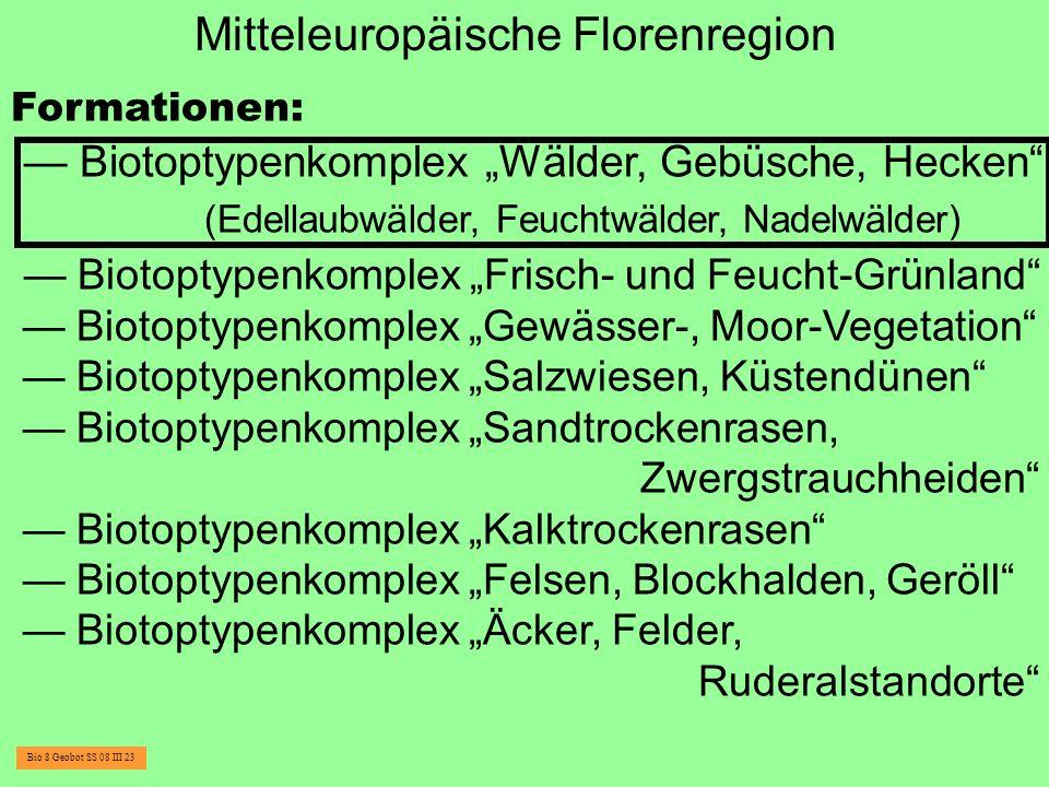 Mitteleuropäische Florenregion Formationen: Biotoptypenkomplex Wälder, Gebüsche, Hecken (Edellaubwälder, Feuchtwälder, Nadelwälder) Biotoptypenkomplex