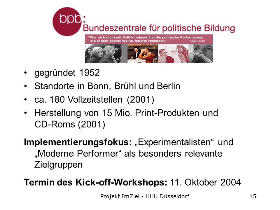 Projekt ImZiel - HHU Düsseldorf15 gegründet 1952 Standorte in Bonn, Brühl und Berlin ca.