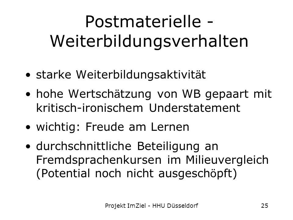 Projekt ImZiel - HHU Düsseldorf25 Postmaterielle - Weiterbildungsverhalten starke Weiterbildungsaktivit ä t hohe Wertsch ä tzung von WB gepaart mit kritisch-ironischem Understatement wichtig: Freude am Lernen durchschnittliche Beteiligung an Fremdsprachenkursen im Milieuvergleich (Potential noch nicht ausgesch ö pft)