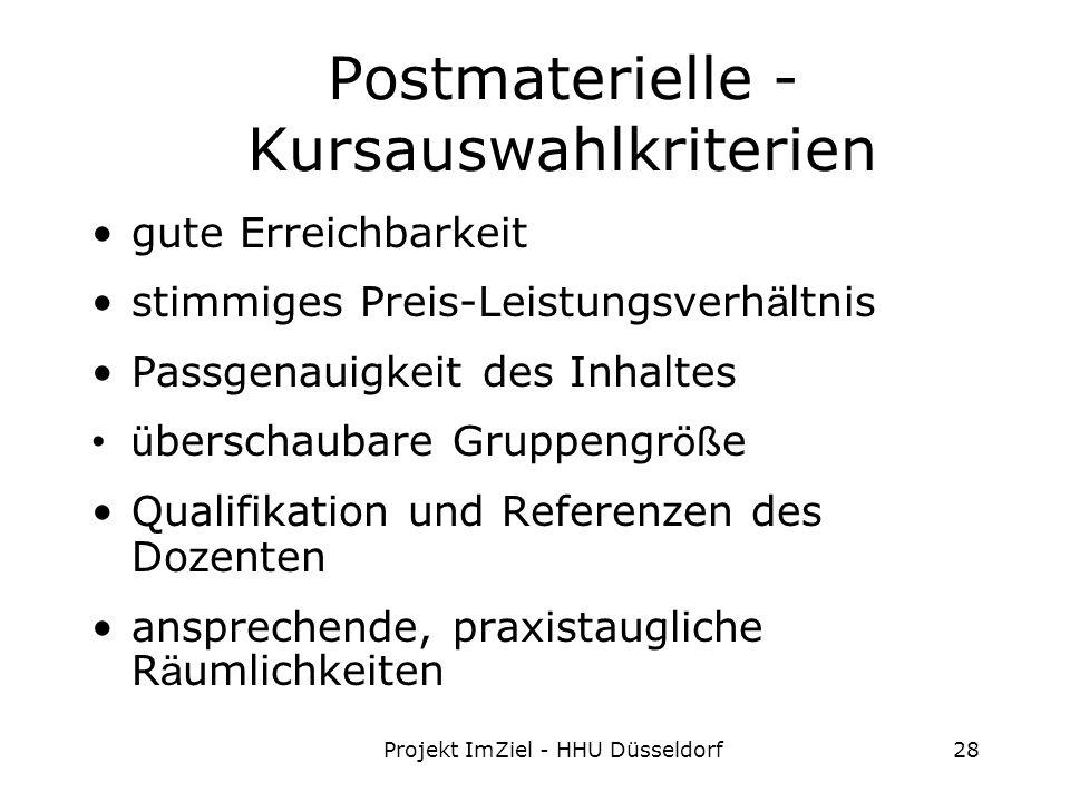 Projekt ImZiel - HHU Düsseldorf28 Postmaterielle - Kursauswahlkriterien gute Erreichbarkeit stimmiges Preis-Leistungsverh ä ltnis Passgenauigkeit des Inhaltes ü berschaubare Gruppengr öß e Qualifikation und Referenzen des Dozenten ansprechende, praxistaugliche R ä umlichkeiten