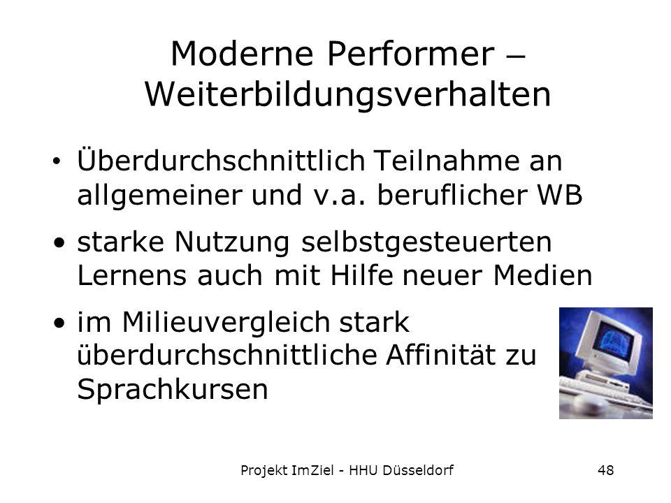 Projekt ImZiel - HHU Düsseldorf48 Moderne Performer – Weiterbildungsverhalten Ü berdurchschnittlich Teilnahme an allgemeiner und v.a.