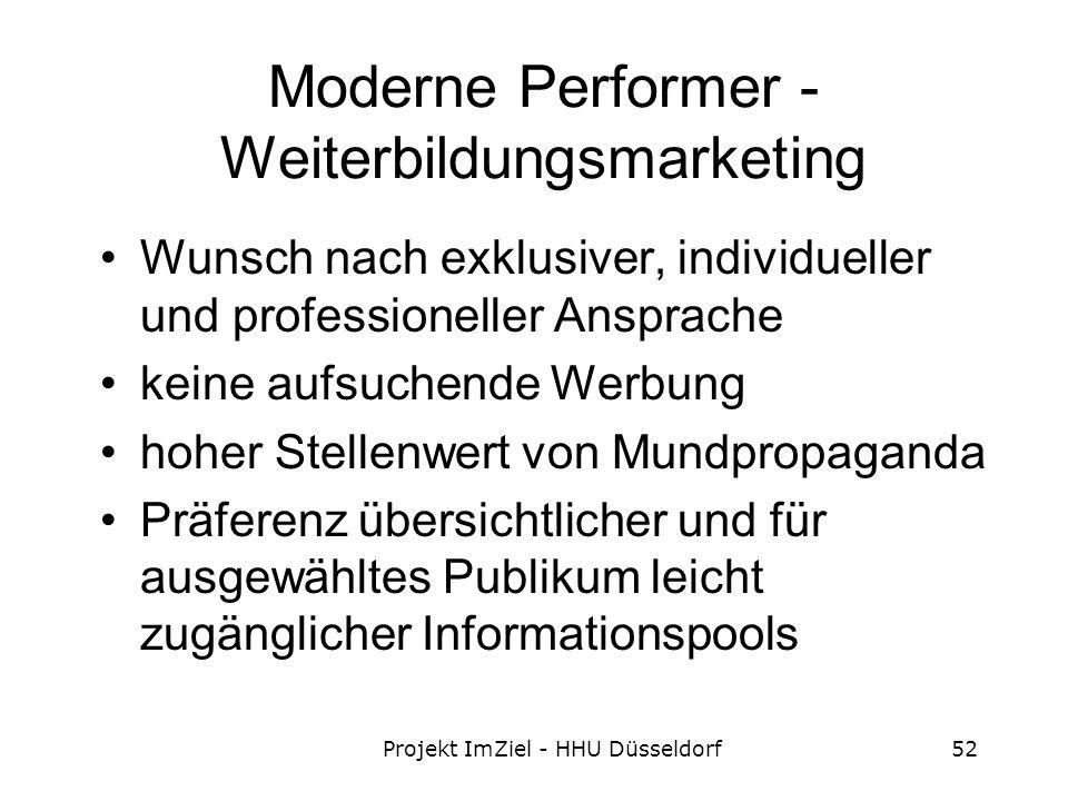 Projekt ImZiel - HHU Düsseldorf52 Moderne Performer - Weiterbildungsmarketing Wunsch nach exklusiver, individueller und professioneller Ansprache keine aufsuchende Werbung hoher Stellenwert von Mundpropaganda Präferenz übersichtlicher und für ausgewähltes Publikum leicht zugänglicher Informationspools