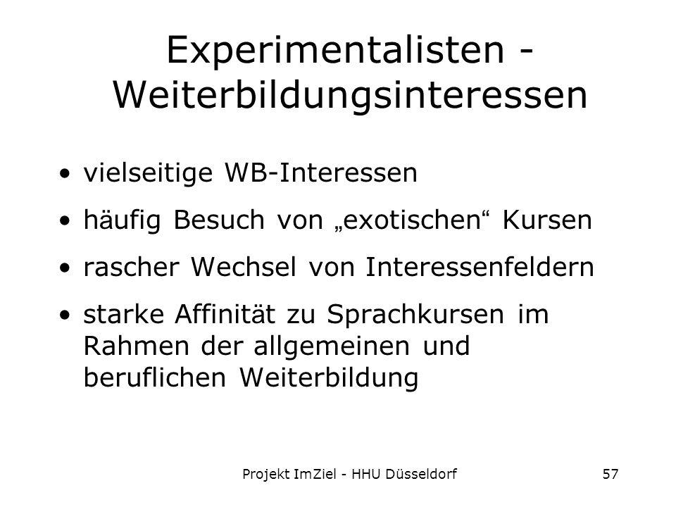 Projekt ImZiel - HHU Düsseldorf57 Experimentalisten - Weiterbildungsinteressen vielseitige WB-Interessen h ä ufig Besuch von exotischen Kursen rascher Wechsel von Interessenfeldern starke Affinit ä t zu Sprachkursen im Rahmen der allgemeinen und beruflichen Weiterbildung