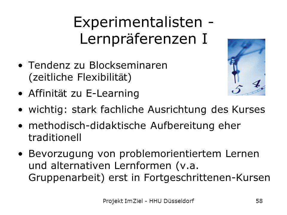 Projekt ImZiel - HHU Düsseldorf58 Experimentalisten - Lernpr ä ferenzen I Tendenz zu Blockseminaren (zeitliche Flexibilit ä t) Affinit ä t zu E-Learning wichtig: stark fachliche Ausrichtung des Kurses methodisch-didaktische Aufbereitung eher traditionell Bevorzugung von problemorientiertem Lernen und alternativen Lernformen (v.a.