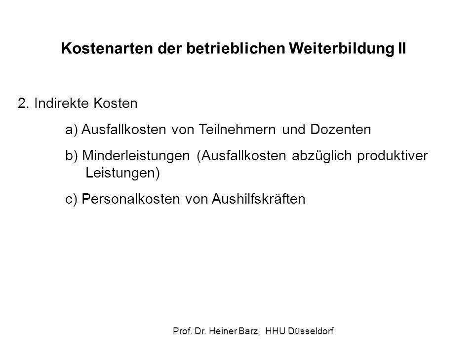 Prof. Dr. Heiner Barz, HHU Düsseldorf Kostenarten der betrieblichen Weiterbildung II 2. Indirekte Kosten a) Ausfallkosten von Teilnehmern und Dozenten