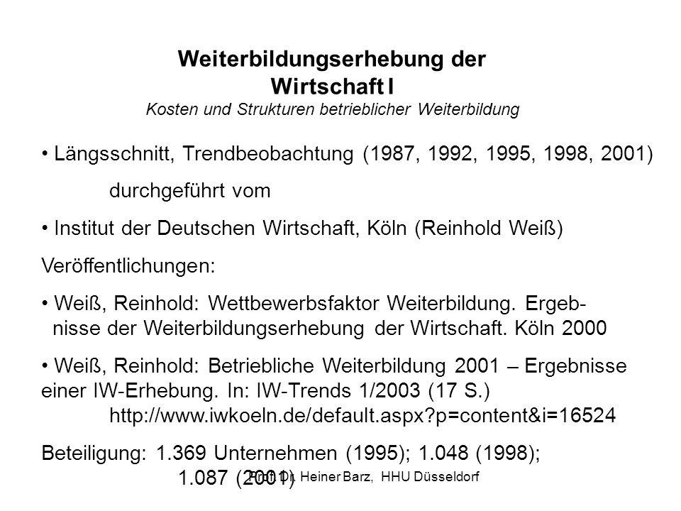 Prof. Dr. Heiner Barz, HHU Düsseldorf Längsschnitt, Trendbeobachtung (1987, 1992, 1995, 1998, 2001) durchgeführt vom Institut der Deutschen Wirtschaft