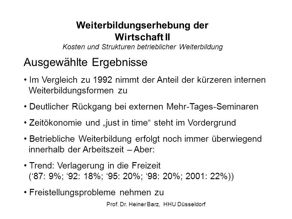 Prof. Dr. Heiner Barz, HHU Düsseldorf Ausgewählte Ergebnisse Im Vergleich zu 1992 nimmt der Anteil der kürzeren internen Weiterbildungsformen zu Deutl