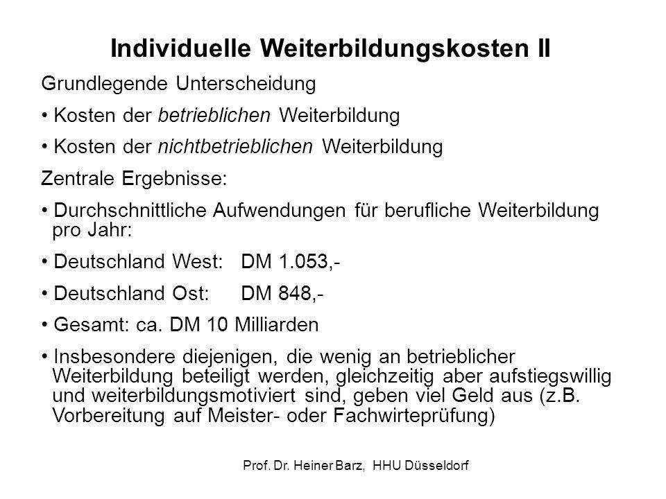 Prof. Dr. Heiner Barz, HHU Düsseldorf Individuelle Weiterbildungskosten II Grundlegende Unterscheidung Kosten der betrieblichen Weiterbildung Kosten d