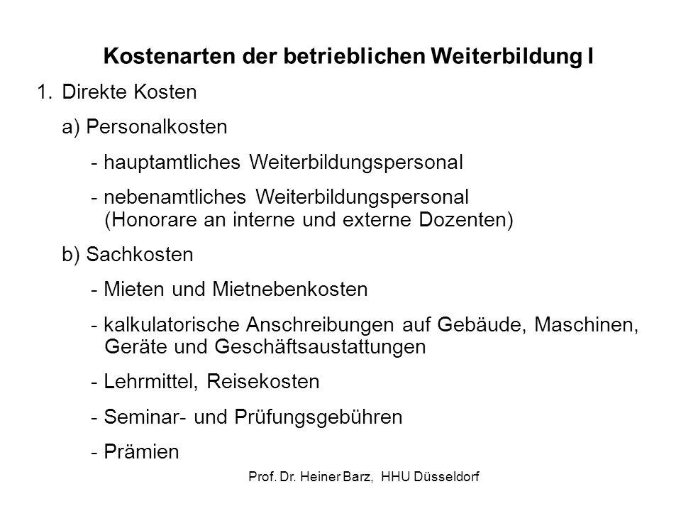 Prof. Dr. Heiner Barz, HHU Düsseldorf Kostenarten der betrieblichen Weiterbildung I 1.Direkte Kosten a) Personalkosten - hauptamtliches Weiterbildungs
