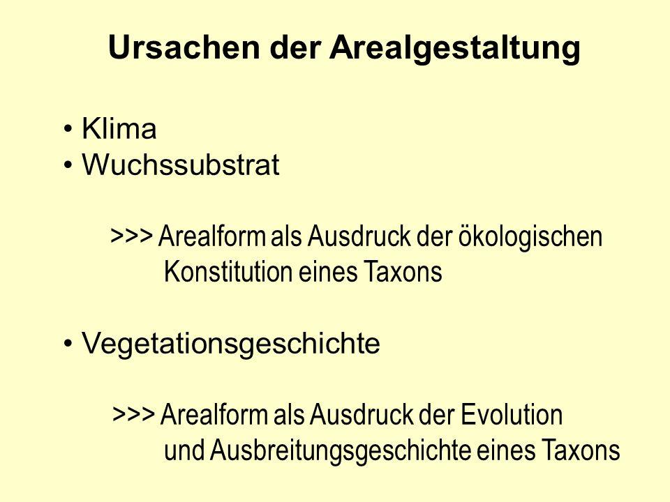 Ursachen der Arealgestaltung Klima Wuchssubstrat >>> Arealform als Ausdruck der ökologischen Konstitution eines Taxons Vegetationsgeschichte >>> Areal