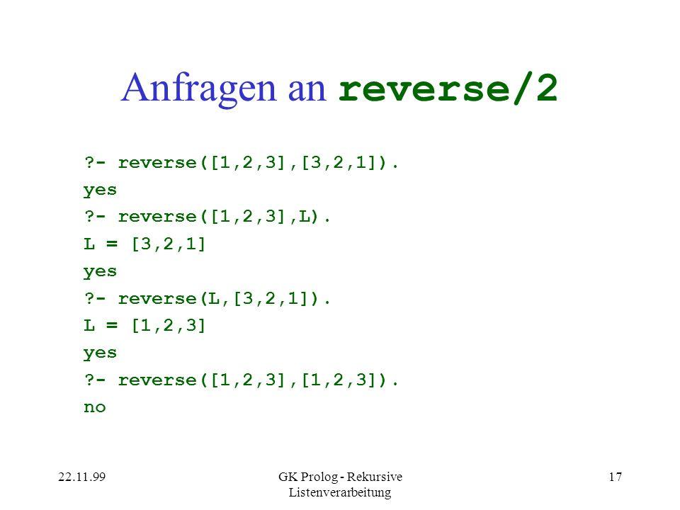 22.11.99GK Prolog - Rekursive Listenverarbeitung 17 Anfragen an reverse/2 ?- reverse([1,2,3],[3,2,1]).
