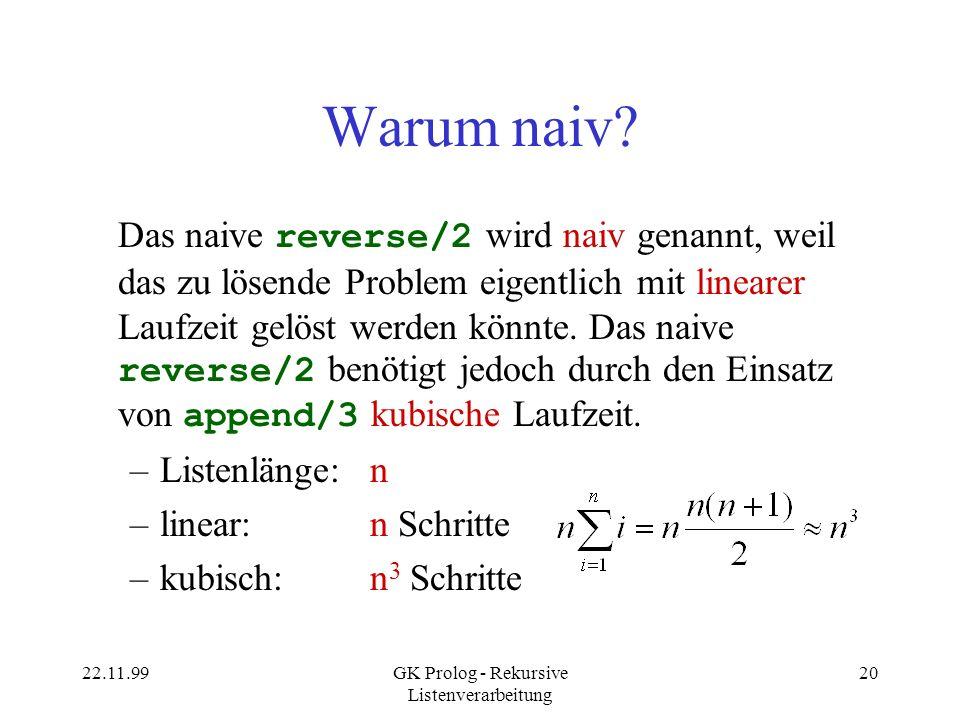 22.11.99GK Prolog - Rekursive Listenverarbeitung 20 Warum naiv.