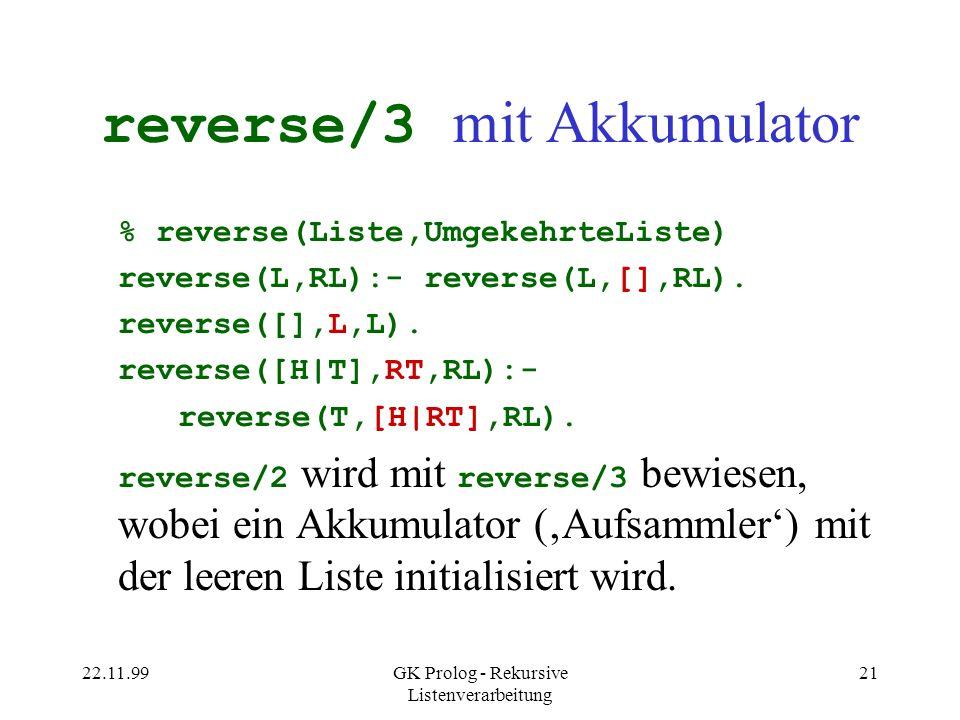 22.11.99GK Prolog - Rekursive Listenverarbeitung 21 reverse/3 mit Akkumulator % reverse(Liste,UmgekehrteListe) reverse(L,RL):- reverse(L,[],RL).