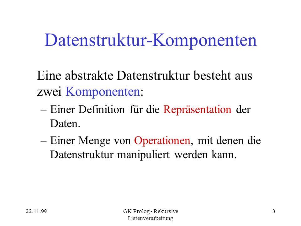 22.11.99GK Prolog - Rekursive Listenverarbeitung 24 Akkumulatoren Normale rekursive Listenverarbeitung: –Zerlegung im Kopf der Regel.