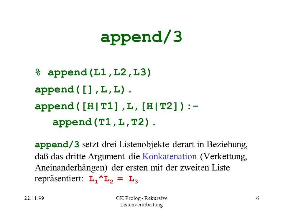 22.11.99GK Prolog - Rekursive Listenverarbeitung 7 Anfragen an append/3 ?- append([1,2,3],[4,5,6],[1,2,3,4,5,6]).
