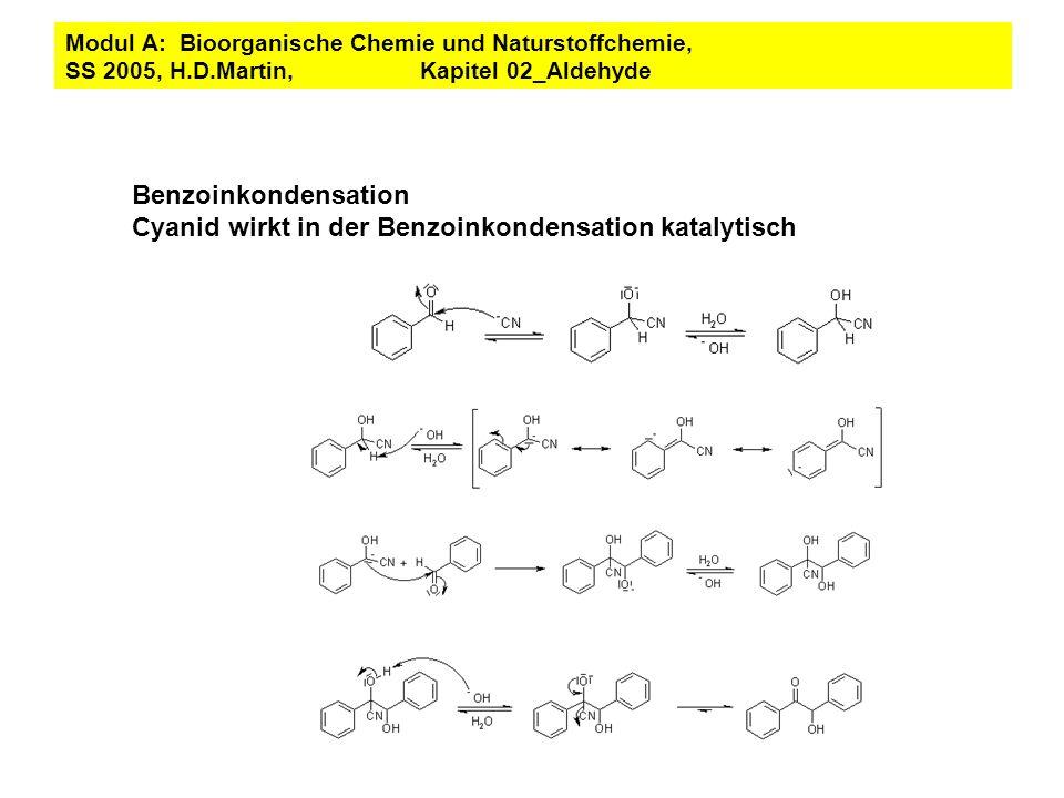 Benzoinkondensation Cyanid wirkt in der Benzoinkondensation katalytisch Modul A: Bioorganische Chemie und Naturstoffchemie, SS 2005, H.D.Martin, Kapit