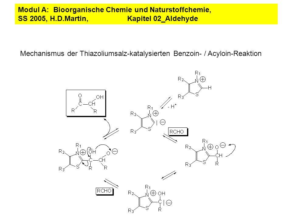 Mechanismus der Thiazoliumsalz-katalysierten Benzoin- / Acyloin-Reaktion