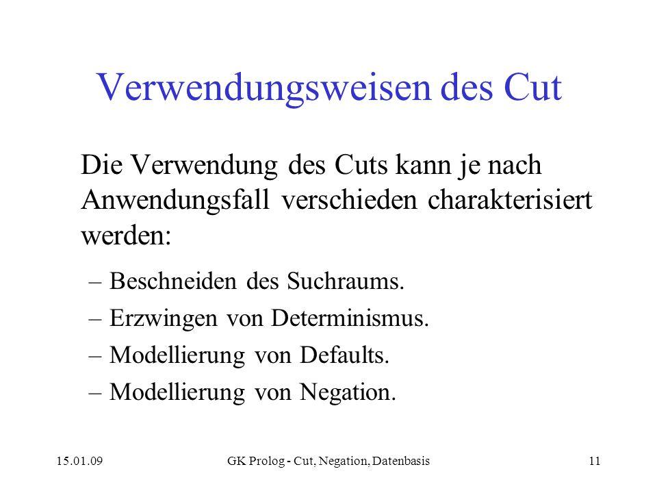 15.01.09GK Prolog - Cut, Negation, Datenbasis11 Verwendungsweisen des Cut Die Verwendung des Cuts kann je nach Anwendungsfall verschieden charakterisi