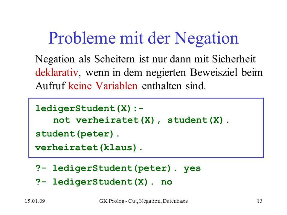 15.01.09GK Prolog - Cut, Negation, Datenbasis13 Probleme mit der Negation Negation als Scheitern ist nur dann mit Sicherheit deklarativ, wenn in dem n