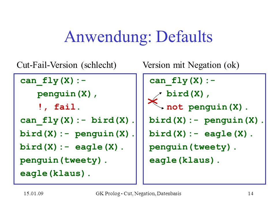 15.01.09GK Prolog - Cut, Negation, Datenbasis14 Anwendung: Defaults can_fly(X):- penguin(X), !, fail. can_fly(X):- bird(X). bird(X):- penguin(X). bird