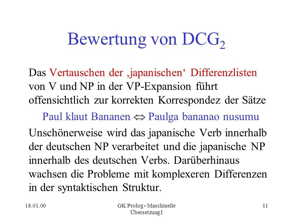 18.01.00GK Prolog - Maschinelle Übersetzung I 11 Bewertung von DCG 2 Das Vertauschen der japanischen Differenzlisten von V und NP in der VP-Expansion