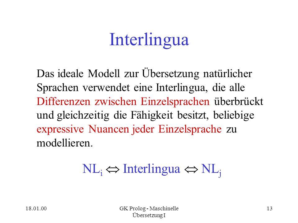 18.01.00GK Prolog - Maschinelle Übersetzung I 13 Interlingua Das ideale Modell zur Übersetzung natürlicher Sprachen verwendet eine Interlingua, die al