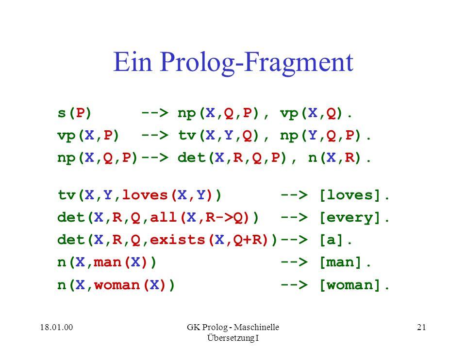 18.01.00GK Prolog - Maschinelle Übersetzung I 21 Ein Prolog-Fragment s(P) --> np(X,Q,P), vp(X,Q). vp(X,P) --> tv(X,Y,Q), np(Y,Q,P). np(X,Q,P)--> det(X