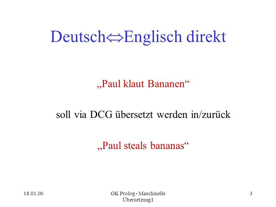 18.01.00GK Prolog - Maschinelle Übersetzung I 3 Deutsch Englisch direkt Paul klaut Bananen soll via DCG übersetzt werden in/zurück Paul steals bananas