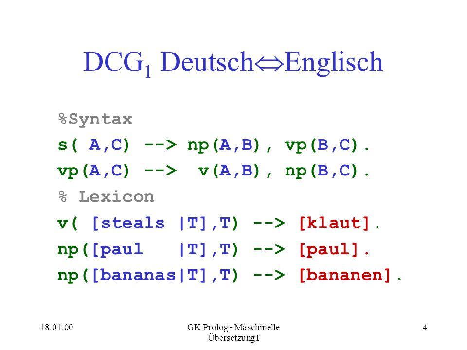 18.01.00GK Prolog - Maschinelle Übersetzung I 4 DCG 1 Deutsch Englisch %Syntax s( A,C) --> np(A,B), vp(B,C). vp(A,C) --> v(A,B), np(B,C). % Lexicon v(