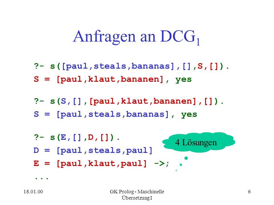 18.01.00GK Prolog - Maschinelle Übersetzung I 6 Anfragen an DCG 1 ?- s([paul,steals,bananas],[],S,[]). S = [paul,klaut,bananen], yes ?- s(S,[],[paul,k