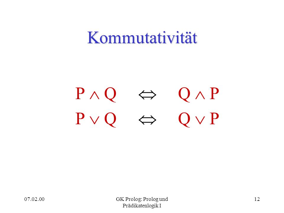07.02.00GK Prolog: Prolog und Prädikatenlogik I 12 Kommutativität P Q Q P