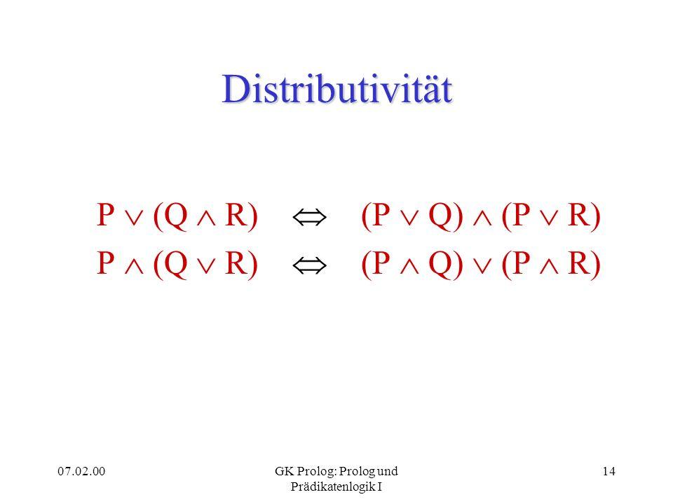 07.02.00GK Prolog: Prolog und Prädikatenlogik I 14 Distributivität P (Q R) (P Q) (P R)