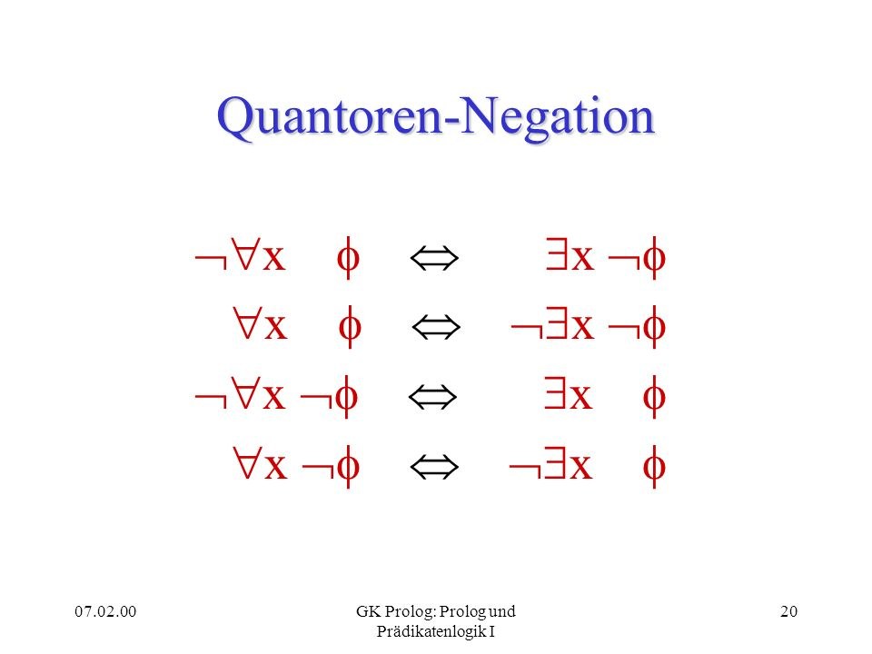 07.02.00GK Prolog: Prolog und Prädikatenlogik I 20 Quantoren-Negation x x