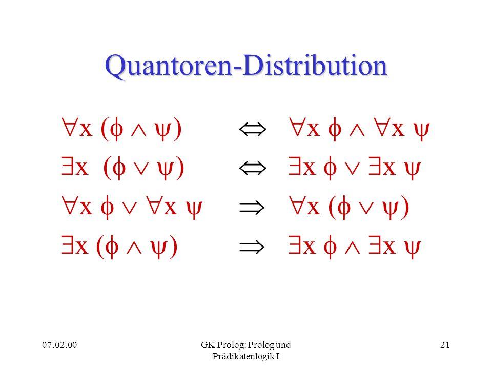 07.02.00GK Prolog: Prolog und Prädikatenlogik I 21 Quantoren-Distribution x ( ) x x x x x ( ) x ( ) x x