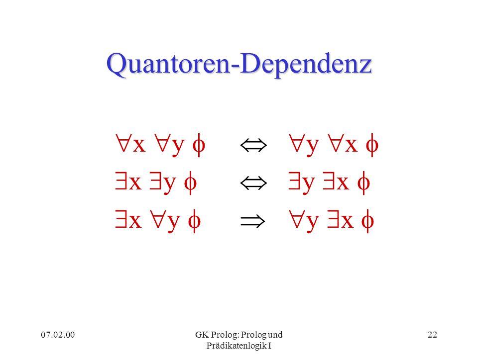 07.02.00GK Prolog: Prolog und Prädikatenlogik I 23 Quantoren-Bewegung x x ( ) ( x ) x ( ) Hier wird vorausgesetzt, daß die quantifizierte Variable nicht frei in der Formel vorkommt, die jeweils außerhalb des Quantorenskopus erscheint.